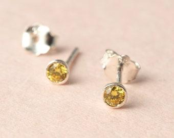 Birthstone Stud Earrings - Dainty Birthstone Earrings - Personalized Birthstone Jewelry in Sterling Silver - Christmas Gift for Daughters