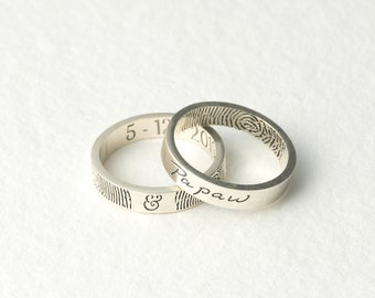 Actual Handwriting Ring - Custom Fingerprint Ring - Handwriting Jewelry in Sterling Silver - Meaningful Gift for Grandparents - Gift for Dad