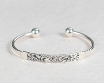 Actual Fingerprint Bracelet - Fingerprint Cuff - Personalized Jewelry in Sterling Silver - Memorial Jewelry - Christmas Gift for Grandma