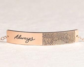Actual Fingerprint Bracelet - Custom Signature Bracelet in Sterling Silver - Actual Fingerprint & Handwriting Jewelry - Gift for Grandma