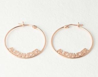 Name Hoop Earrings - Custom Name Earrings - Silver Hoop Earrings - Personalized Name Jewelry in Sterling Silver - Gift For Her