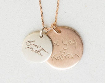 Signature Disc Necklace - Actual Handwriting Disc Necklace - Name Necklace - Memorial Disc Necklace - Sympathy Gift - Mom Gift