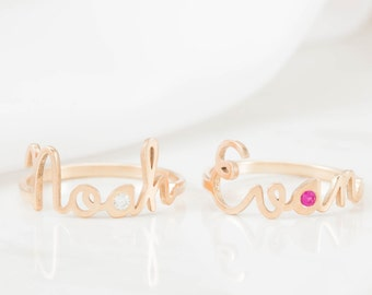 Custom Name Ring with Birthstone - Personalized Name Jewelry - Baby Name Ring - Children Jewelry - New Mom Baby Shower Gift - Mom Gift