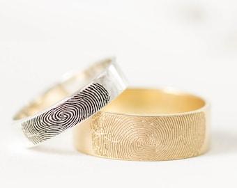 Fingerprint Ring - Couples Fingerprints Rings - Personalized Fingerprint Jewelry - Wedding Band - Men Band - Gift for Him