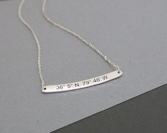 Curved Bar Coordinates Necklace - Skinny Engraved Bar Necklace - Personalized Coordinates Jewelry - Bridesmaid Gift - Wedding Gift