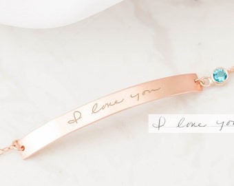 Handwriting Bracelet - Memorial Engraved Bar Bracelet - Actual Handwriting Bar Bracelet - Birthday Gift - Keepsake Jewelry