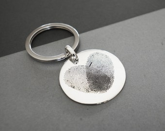 Actual Fingerprint KEYCHAIN - Handwriting Keychain - Fingerprint Disc Charm - Personalized Memorial Gifts - Meaningful Gifts