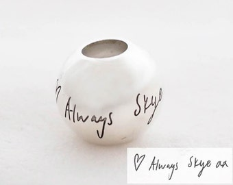 Actual Handwriting Charm - Custom Bead - Signature Charm in Sterling Silver - Handwriting Jewelry - Personalized Gift