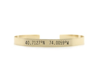 Custom Coordinates Cuff Bracelet - GPS Coordinates Bangle - Engraved Bracelet in Sterling Silver, Gold, & Rose Gold - Gifts for Her