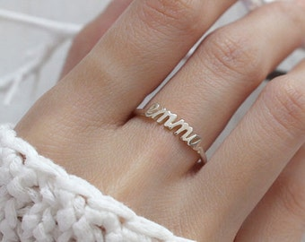 Dainty Name Ring - Stackable Name Ring - Custom Name Ring - Personalized Ring in Sterling Silver - Bridesmaid Gift - Gift For Her F43