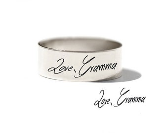 Signature Men Ring - Handwriting Men Ring - Memorial Handwriting Band _ Wedding Band for Him - Father Gift - Uncle Gift