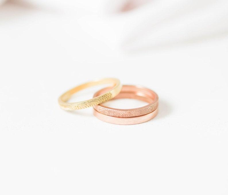 Custom Fingerprint Ring Personalized Gift Couples Fingerprints Ring Skinny Fingerprint Ring MOTHER GIFT Fingerprint Band