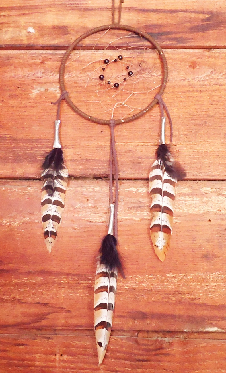 Dream Catcher Medium Brown Dreamcatcher Authentic Native American Indian Traditional Dream Catcher Mobile Gift Wall Hanging Boho Art Hoops
