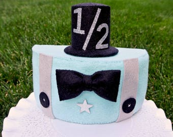 Half Birthday Cake Boys Little Man Felt Photo Prop 1 2 Topper Fake For