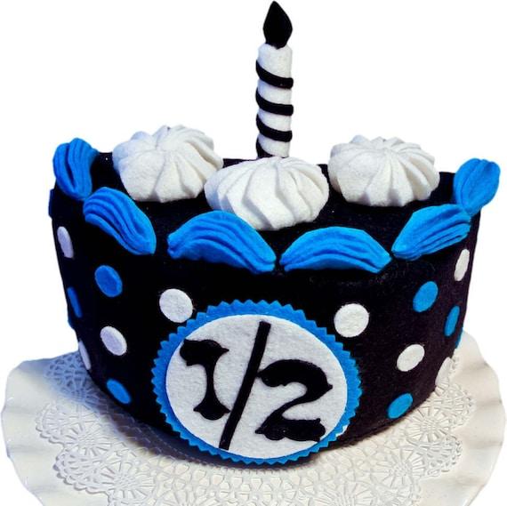 Half Birthday Cake Navy Turquoise Felt CakeBirthday Photo