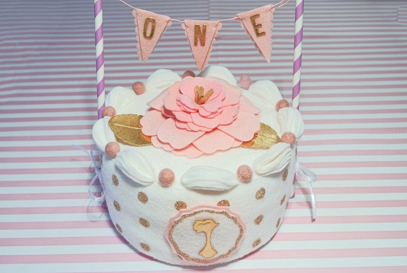 First Birthday Cake White And Gold Felt Cake With Flower And