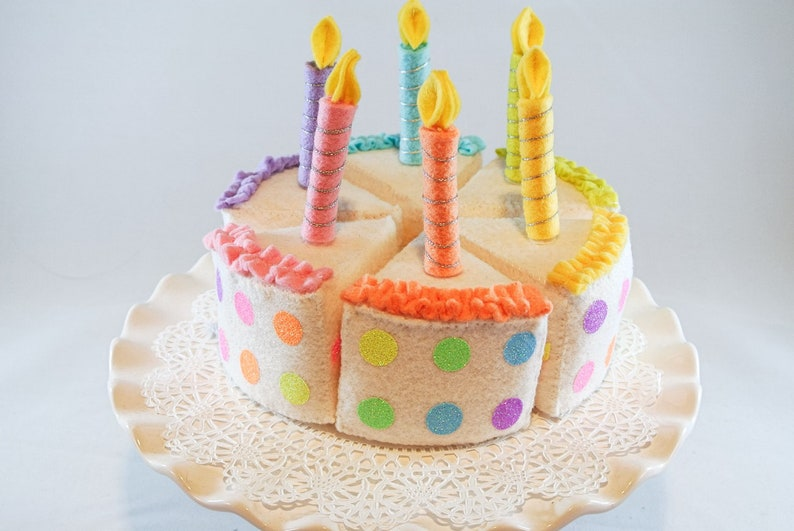 Birthday Candles Play Felt Cake Set Rainbow 6 Pcs With Icing