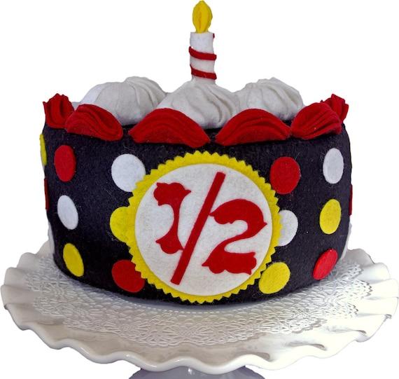 Half Birthday Cake Black Cake With Red Yellow White Dots Etsy