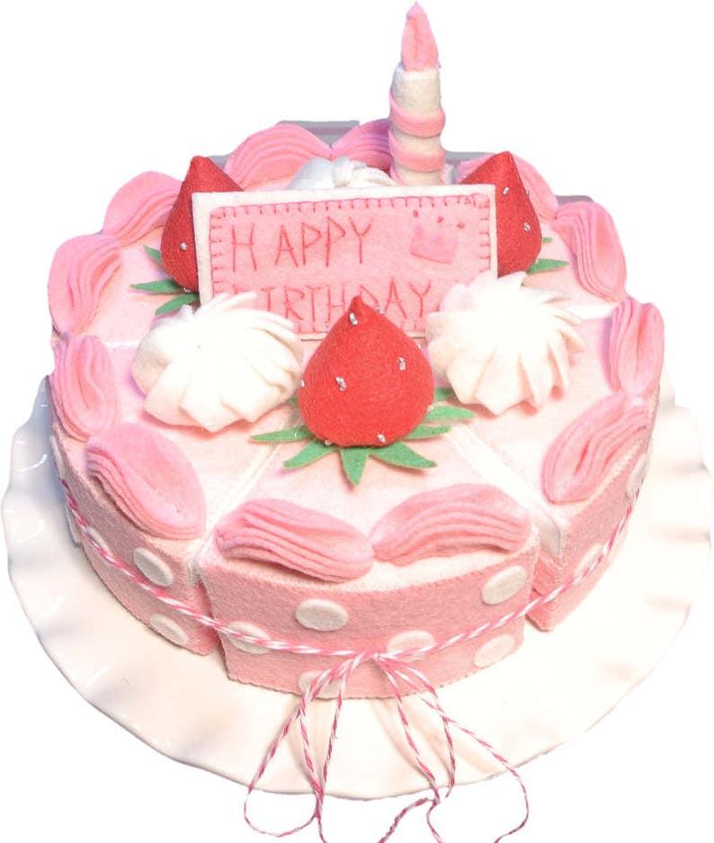 Felt Birthday Cake Set Pink Dot Food