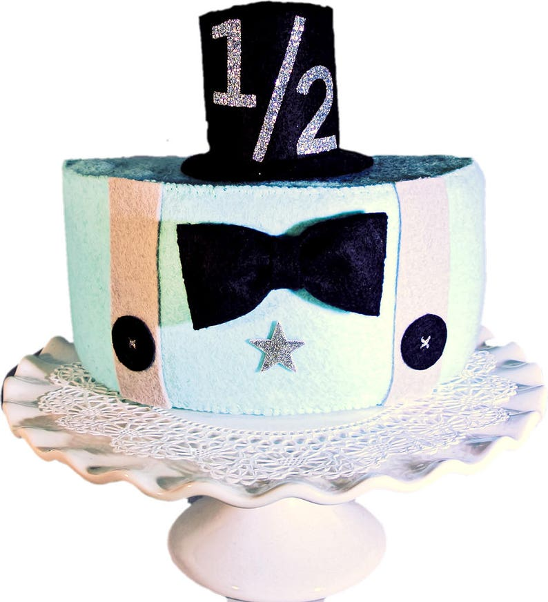 Half Birthday Cake Boys Little Man Felt Photo