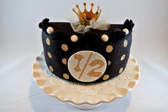Swell Half Birthday Cake Set Blackgold Felt Cake Half Birthday Etsy Personalised Birthday Cards Veneteletsinfo