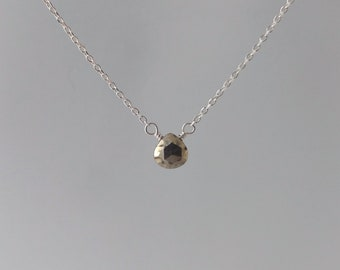 Pyrite, Faceted Teardrop Necklace