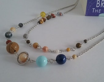 Solar System Necklace - Silver - Multistrand - Gemstone Mix - Solar System Jewelry - MADE TO ORDER