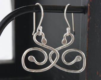 Sterling Silver Swirl Dangle Earrings, Textured Sterling Silver Earrings, Sterling Silver Coiled Earrings, Handmade Sterling silver Earrings