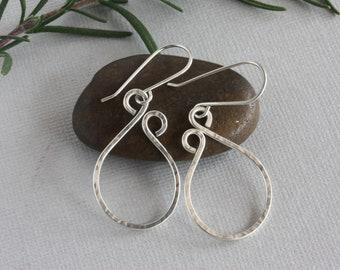 Sterling Silver Hoop Earrings, Textured Sterling Silver Oval Earrings, Sterling Silver Coiled Earrings, Handmade Sterling Silver Earrings