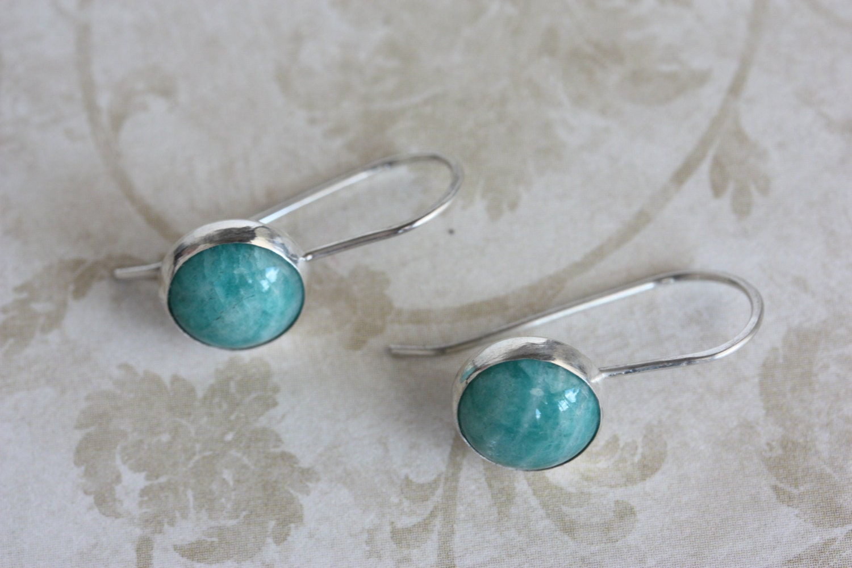 Amazonite earrings Beach earrings Angel earrings Gift for her Wedding earrings Blue stone earrings Something blue