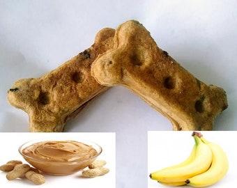 Peanut Butter & Banana, Handmade Dog Treats, Dog Biscuits, Dog Treats, Dog Bones, Puppy Treats, Dog Lover Gift, 16 ozs=1 lb