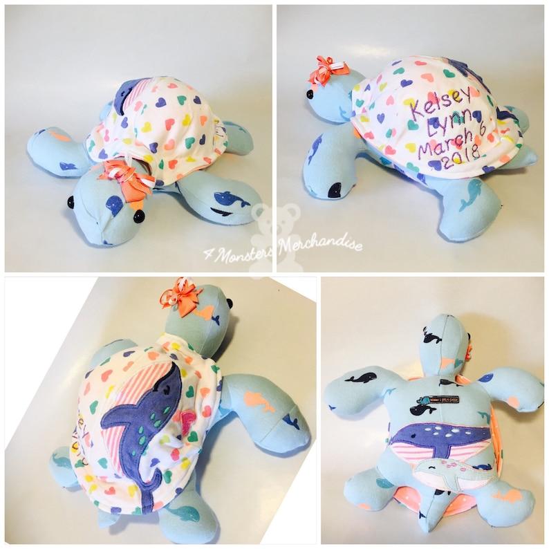 Memory Turtle baby keepsake personalized keepsakes Sleeper bear bear out of clothes memory bear