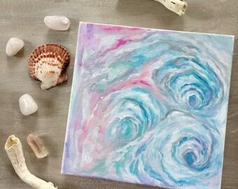 """Ocean Waves, 8""""x8"""" Original Painting, Beach Art, Ocean Art, Nautical Art, Abstract Art, Home Decor"""
