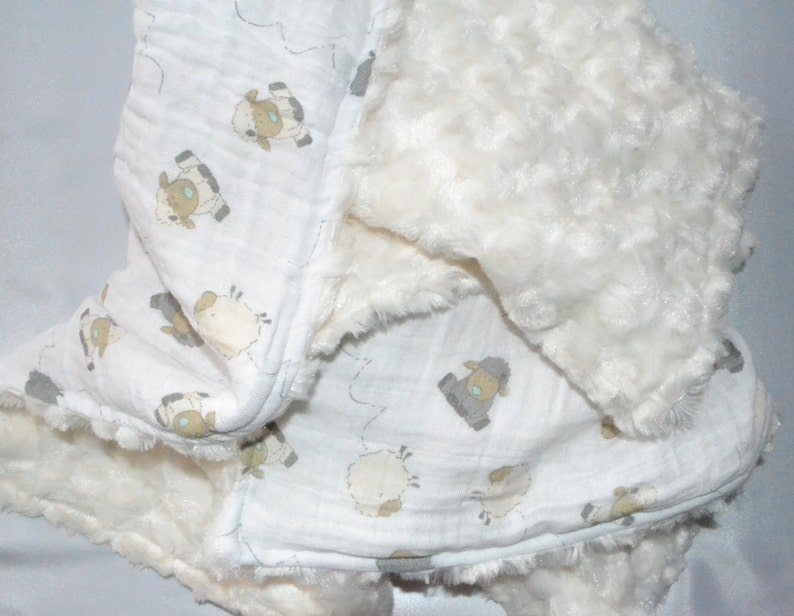 Gauze Minky Blanket My Little Lamb Baby Blanket Etsy