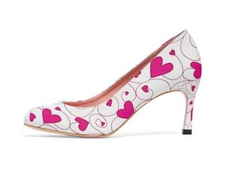 ea9e989de3af4 Pink Love Heart Print Women's High Heels Pumps Shoes | Etsy