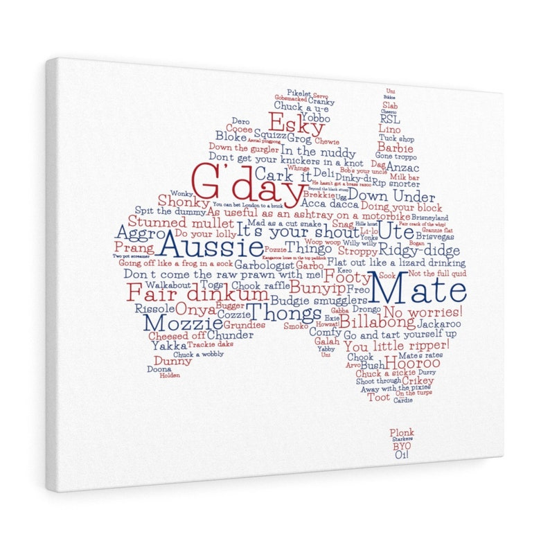 Special Edition Aussie Slang Map Canvas - Australian Slang - Aussie  Language - Australia Series