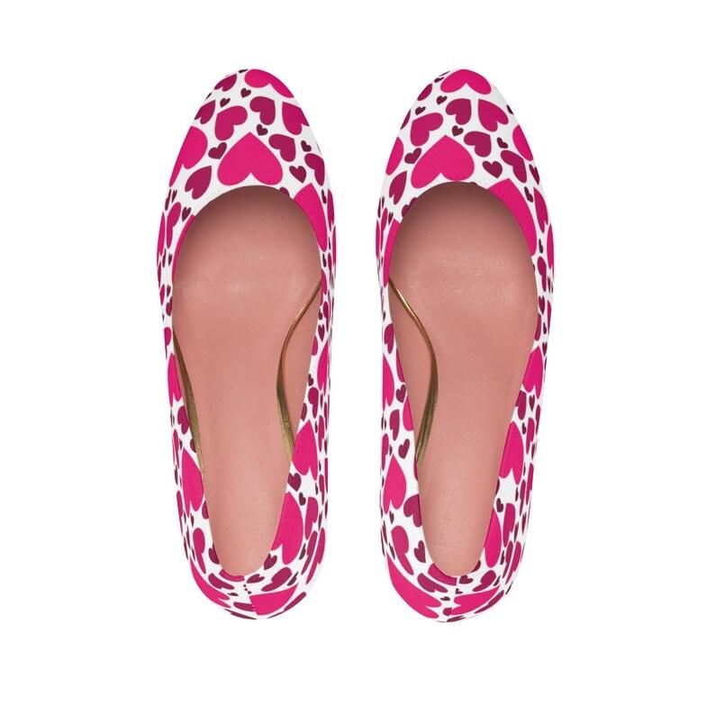 609c91b2214ed Pink Love Heart Print Women's High Heels - Pumps - Shoes - Dress Shoes -  Unique Shoes