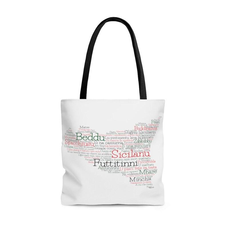 Shopping Bag Sicily Sicilian Word Art Map Sicilian Word Art Map Tote Bag Beach Bag Gift Italy Canvas Handbag