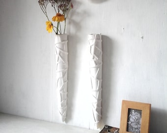 Retro wall vase pair, white hanging planters, embossed white ceramic taper vessels, crazy triangle pattern, mid-century modern look