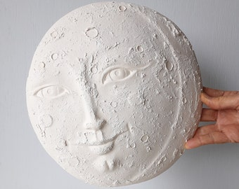 "White ceramic moon sculpture for nursery wall, lunar decor, minimalist bedroom art, new baby gift,  10"" across"