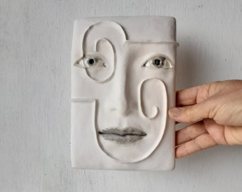 Wall art ceramic face, white abstract head, handmade tile in bas relief, Nordic minimalist gift for him, Scandi style