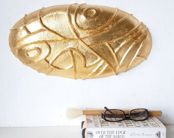 Gold wall sculpture, carved oval wall decor, Modernist ceramic design, luxe look gift from LouiseFultonStudio