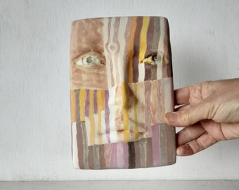Ceramic face, abstract colorful art, modernist style 3D sculpture wall mask with striped painting, Australian made