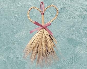 Wall Hanging - Corn Dolly - Wheat Weaving - Heart's Desire - bearded straw