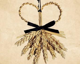 Wall Hanging - wheat - corn dolly - Heart's Desire beardless straw