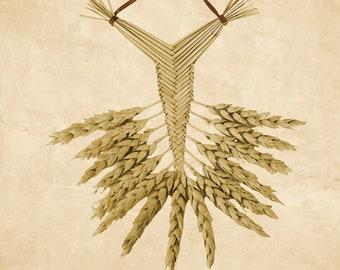 Wall Hanging - Corn Dolly - Wheat Weaving - Welsh Fan = beardless straw