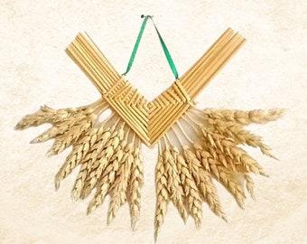 Wall hanging - Wheat weaving - corn dolly - Corazon de Trigo beardless straw