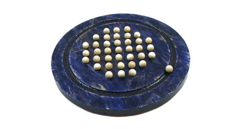 Solitaire blue reconstituted stained wooden board game