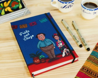 Frida Kahlo and Diego Rivera Notebook, in the Blue House (Coyoacán, México), with stickers,  Handmade.