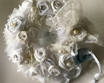 Fabric Wreath Roses Shabby